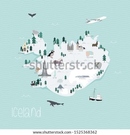 cartoon map of iceland flat