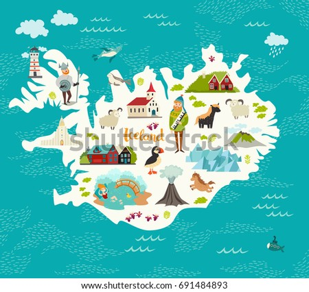 cartoon map of iceland for kid