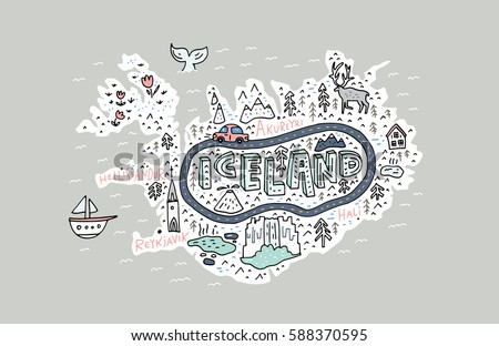cartoon map of iceland