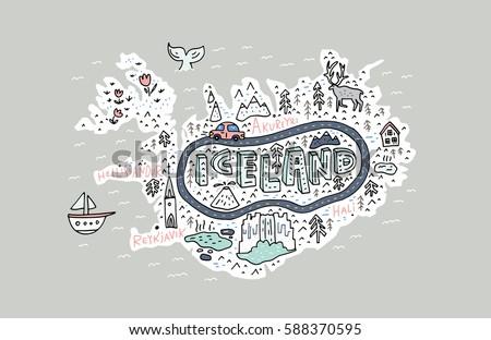 cartoon map of iceland