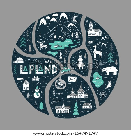 Cartoon map of Lapland hand-drawn. City map with famous tourist attractions and symbols. Color abstract layout of the place. Vector poster for advertising and travel agencies. Excursion route.