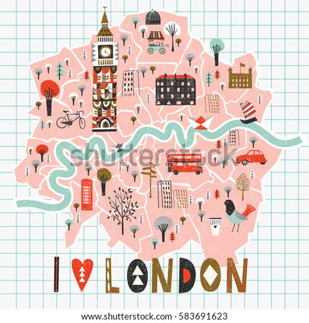Cartoon Map of London with Legend Icons