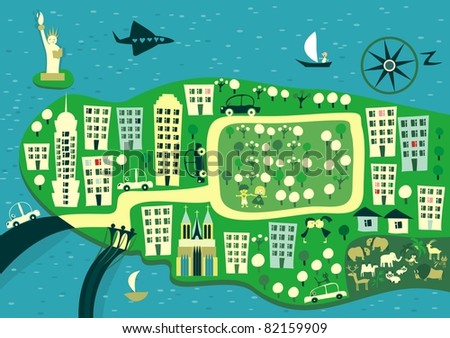cartoon map of new york - stock vector