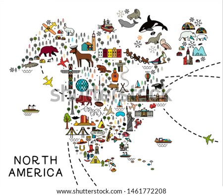 Cartoon map of North America. North America travel guide.  Travel Poster with animals and sightseeing attractions. Vector Illustration.