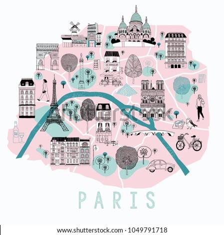 cartoon map of paris with