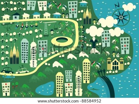 cartoon map of rio de janeiro