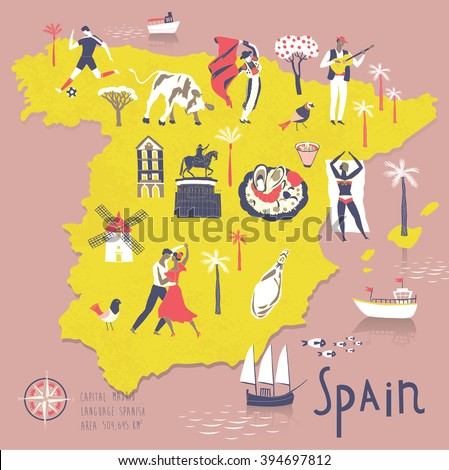 cartoon map of spain with