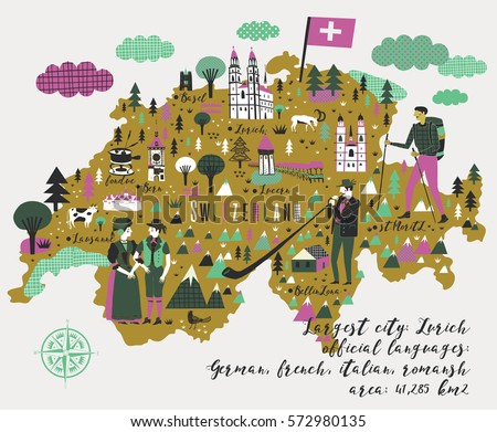 cartoon map of switzerland with