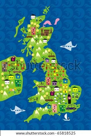 cartoon map of the uk