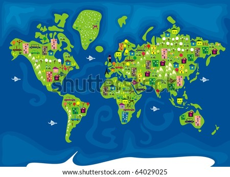 cartoon map of the world