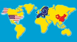 Cartoon map of the world with a dedicated US state, European Union and China