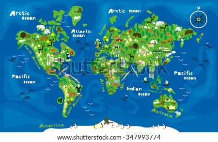 stock vector cartoon map of the world with animals 347993774 - Каталог — Фотообои «Для детской»