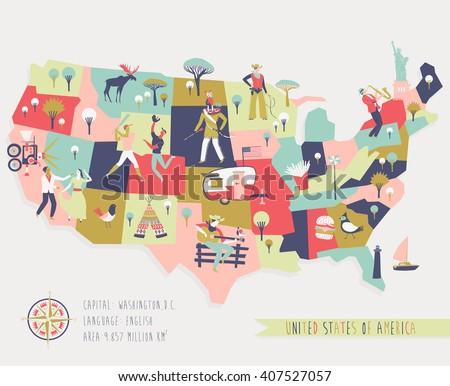 cartoon map of usa with legend