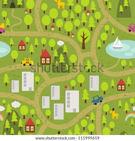 Cartoon map seamless pattern of small town and countryside. Vector landscape.