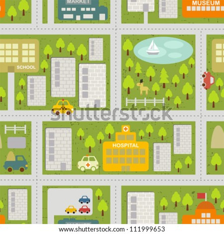 Cartoon map seamless pattern of summer city Vector cityscape