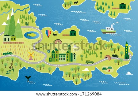 cartoon map with peninsula