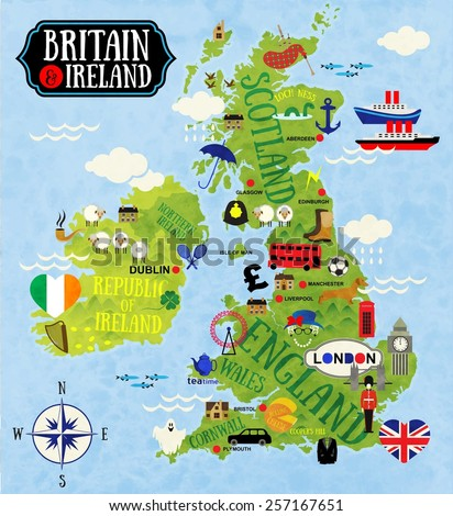 cartoon maps of britain and