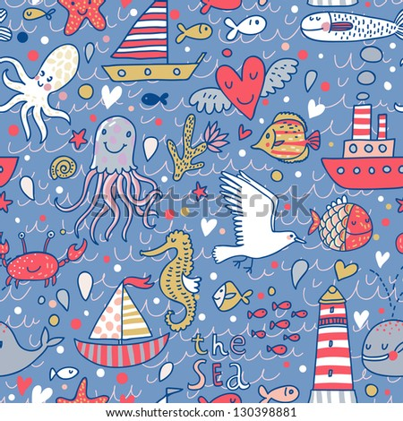 Cartoon marine seamless pattern for childish wallpapers Octopus seagulls fish whale sea horse crab and ships at sea in vector