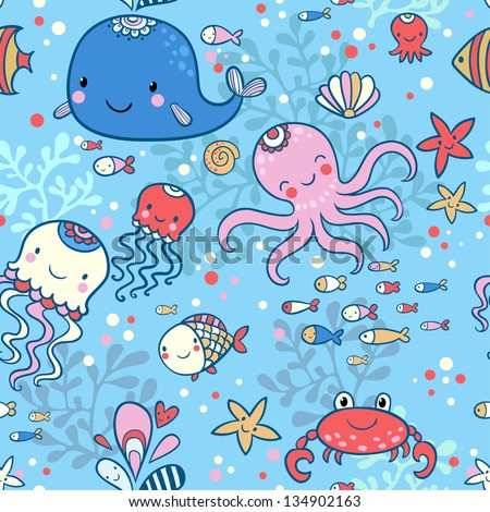 Cartoon marine seamless pattern for childish wallpapers. Whale, octopus, jellyfish, fish, crab, starfishe in cartoon background in vector.