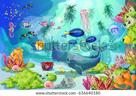 stock-vector-cartoon-marine-underwater-landscape-template-with-whale-fishes-jellyfish-shells-crab-seahorse