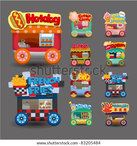 Cartoon market store car icon collection - stock vector