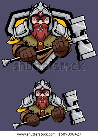 Cartoon mascot or logo with proud fierce dwarf warrior. Photo stock ©