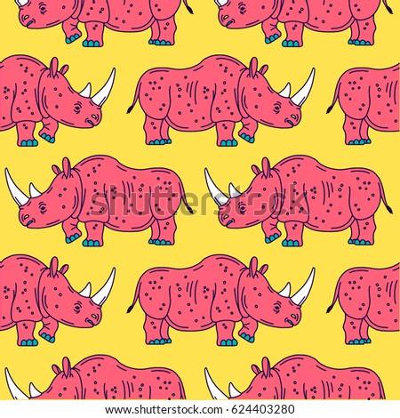 Cartoon mascot rhinoceros isolated