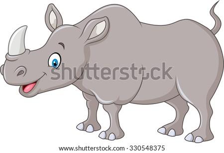 Cartoon mascot rhinoceros isolated on white background