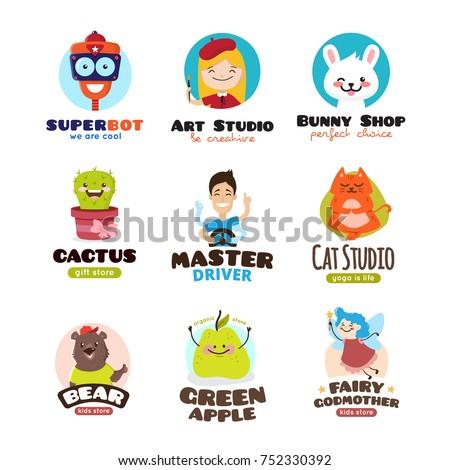 cartoon mascots vector set
