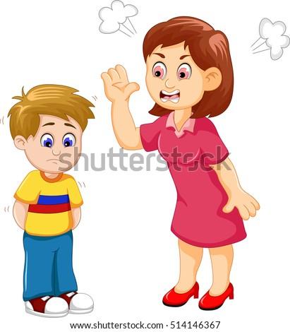 cartoon mather scolding his son