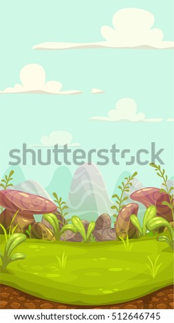 cartoon meadow landscape with