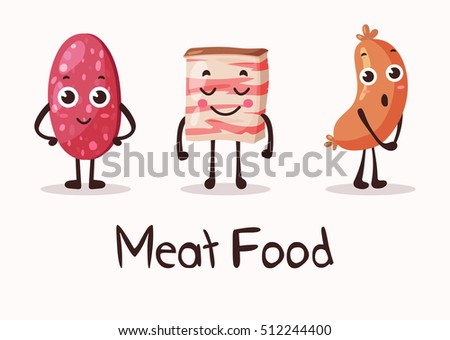 Cartoon meat food characters with smiley faces. Fresh gourmet with sausage and salami, beef steak and lard. Prepared food, frankfurt sausage smiling cartoon characters with eyes