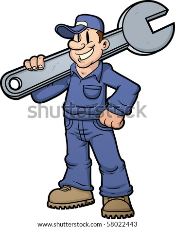 Cartoon mechanic holding a huge wrench. Vector illustration with simple gradients.
