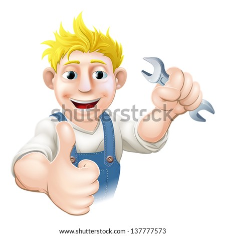 Cartoon mechanic or plumber holding a wrench or spanner and doing a thumbs up gesture