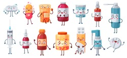 Cartoon medicine mascot. Cute happy pills characters kill bacteria and virus. Capsules, tablets in blister, pill and painkiller vector drugs. Character mascot medicine cure hands and legs illustration