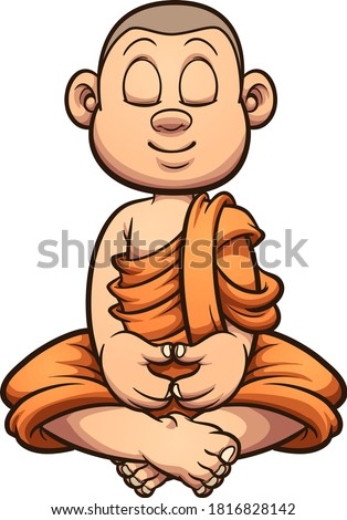 Cartoon meditating Buddhist monk kid. Vector clip art illustration with simple gradients. All on a single layer.
