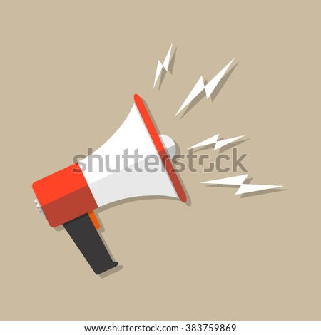Cartoon megaphone icon. social media marketing concept. vector illustration in flat design on brown background.