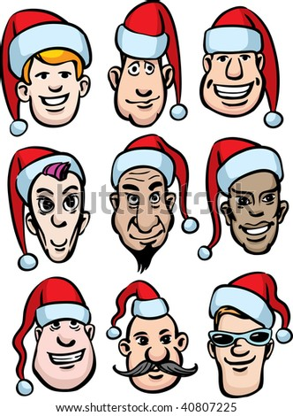 download its about Set Cartoon Men Faces With Various Emotions One From The pic