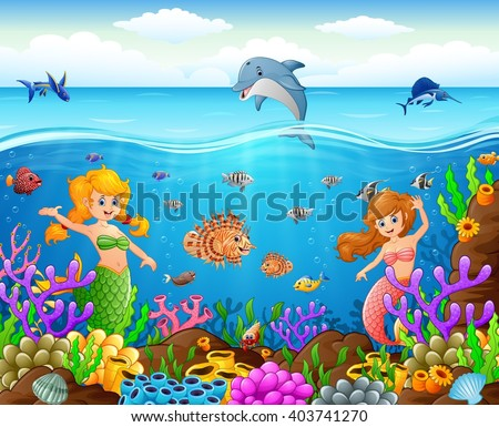cartoon mermaid under the sea