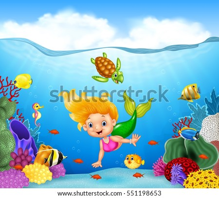 Stock Photo Cartoon mermaid with beautiful underwater world