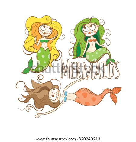 cartoon mermaids set vector
