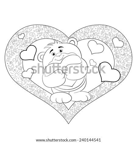 cartoon merry bear with heart