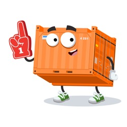 cartoon metal shipping cargo container character mascot with the number 1 one sports fan hand glove on a white background