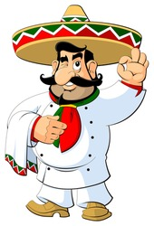 Cartoon Mexican chef in sombrero. Gesture approval.