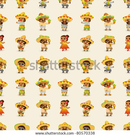 cartoon Mexican people-seamless pattern,vector