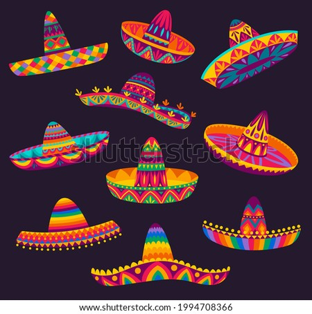 Cartoon Mexican sombrero, vector hats of mariachi musicians, latin men or cowboy charro. Mexican party or fiesta of Cinco de Mayo holiday festive sombreros, straw hats with bright ethnic patterns