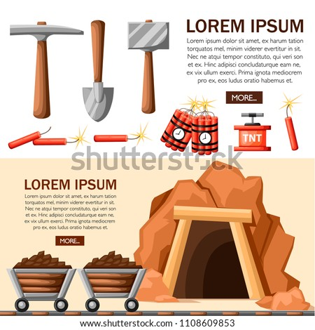 Cartoon mine entrance, and tools for mining and quarrying. Retro tunnel. Mining company concept. Old mine. Flat vector illustration. Web site page and mobile app design. Place for text.