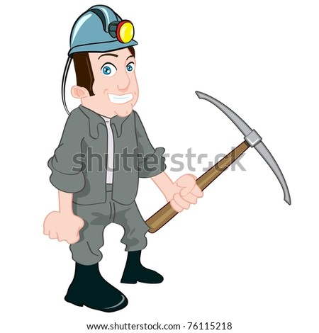 Cartoon miner with a pick. Isolated on white