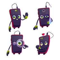 Cartoon mobile phone character set. Cute smartphone in different poses. Chat bot, funny cellphone mascot greeting, sad with broken glass and arm, seo technology, love dating online Vector illustration