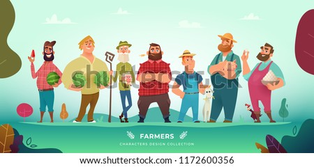 Cartoon modern collection of funny different farmers characters